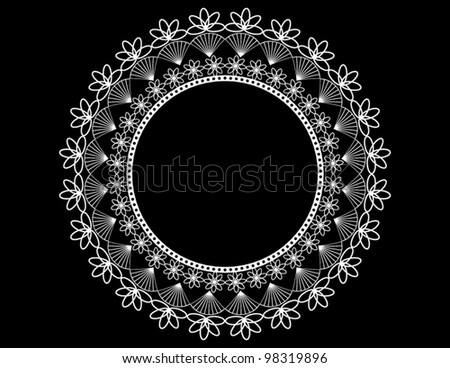 Round Lace Doily on Black - stock vector