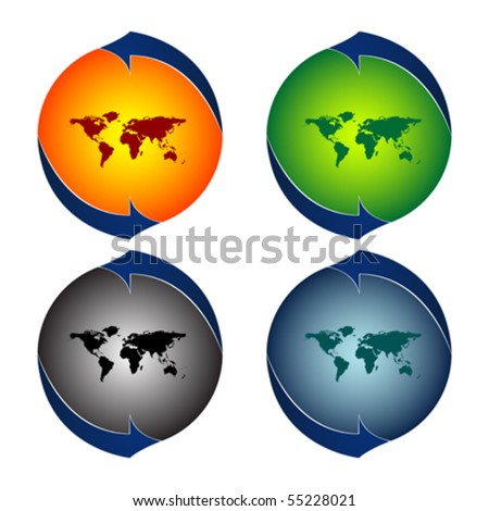 round logos with world map against white background, abstract vector art illustration - stock vector