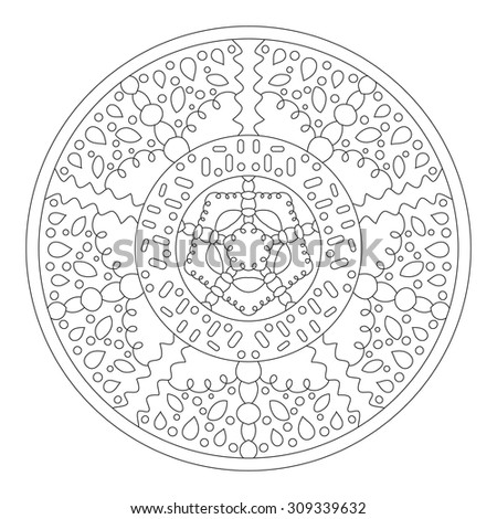 Round mandala for coloring. Ethnic symmetric pattern for the design is drawn with a thin black line on a white background.
