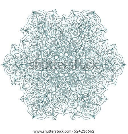 Round Mandala pattern with hand-drawn decorative elements.