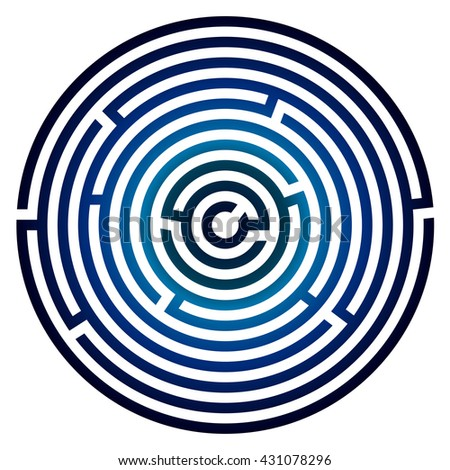 Round maze, labyrinth, on white background. Logic game. - stock vector