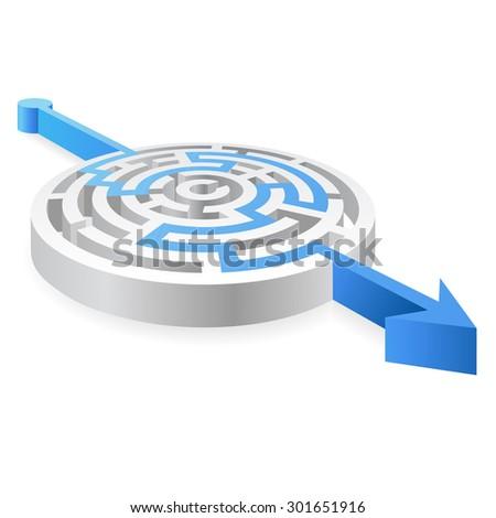 Round maze with a Blue Arrow passing through. - stock vector