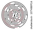 "Round Maze with Red Arrows Path to the Center and ""i"" Letter Inside. Vector Illustration - stock photo"