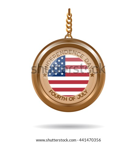 Round medallion on a chain with an American flag and inscription - Independence Day. Fourth of July. Independence Day design. Vector illustration - stock vector