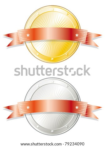 Round metal badge/seal of approval in gold and silver look with a red ribbon on top. - stock vector