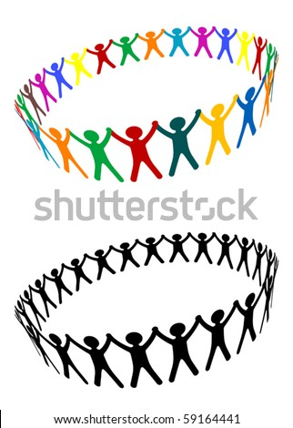 Round of peoples as a friendship symbol - also as emblem or template. Jpeg version also available in gallery