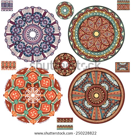 Round Ornament Patterns - stock vector