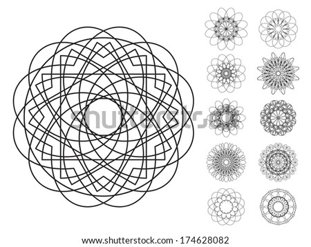Round ornament set. Vector spirographs - stock vector