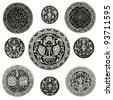 """Round ornament - Vintage engraved illustration - """"L'industrie et l'art décoratif aux deux derniers siècles"""" ed. Firmin-Didot - Paris - stock vector"""