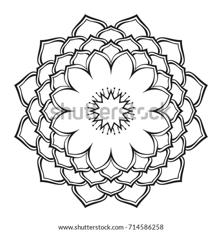 Round ornamental mandala lotus flower isolated stock vector round ornamental mandala lotus flower isolated design element for coloring book print on t mightylinksfo