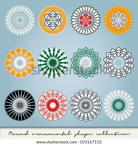 Round ornamental vector shape collection in different colors - stock vector