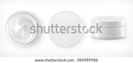 Round packaging of cream, vector object - stock vector