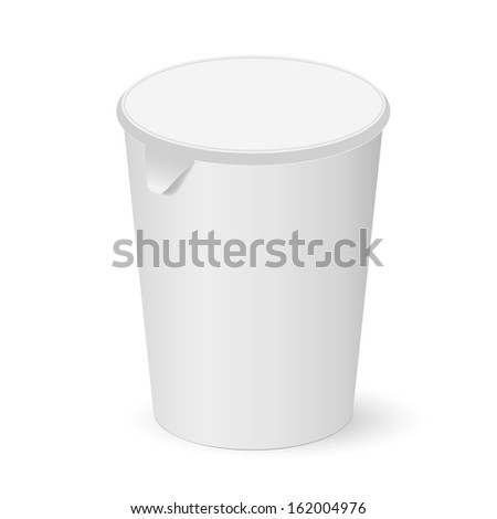Round paper cup with lid for business - stock vector