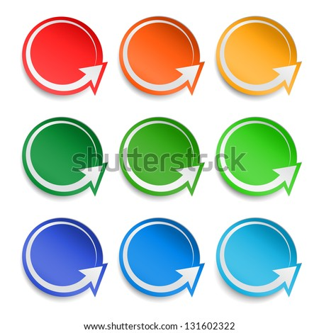 Round paper stickers with arrows, vector