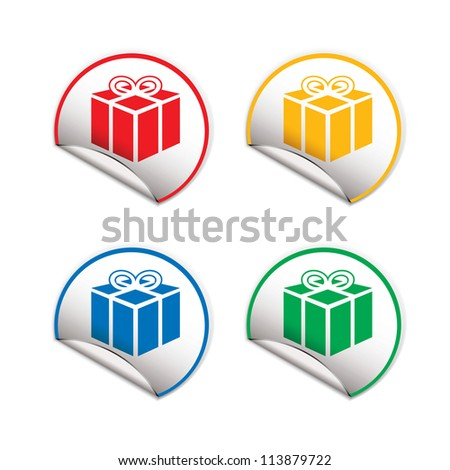 Round paper tag with folded edge and colour present icon - stock vector