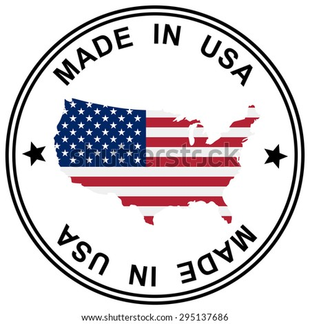 """round patch """" Made in USA """" with silhouette of USA - stock vector"""