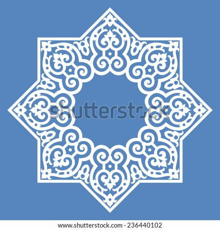 Round pattern abstract design element - Middle east, Persian, Arabesque Islamic pattern design - stock vector