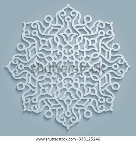 Round pattern mandala decorative - Persian, Arabic, Islamic, floral Turkish symbols and design elements - stock vector