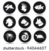 Round Pet Icons EPS 8 vector, grouped for easy editing. No open shapes or paths. - stock vector