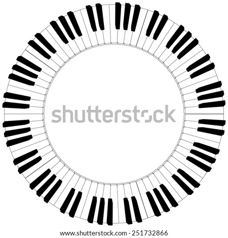 round piano keyboard frame in black and white - stock vector