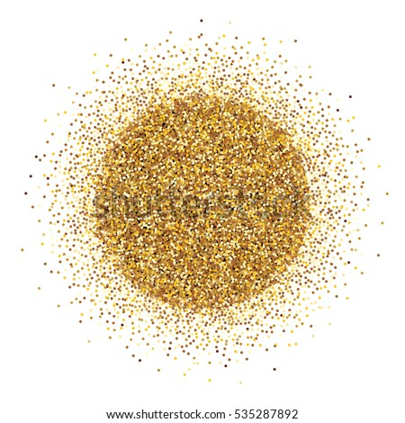 Round pile of gold tinsel on white background. Vector illustration. Holiday card template.