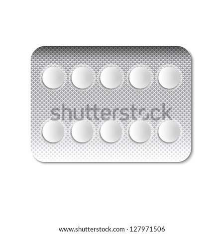 Round Pills in a blister pack. Vector illustration - stock vector