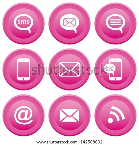 Round pink buttons with communication icons, mobile, sms, e-mail