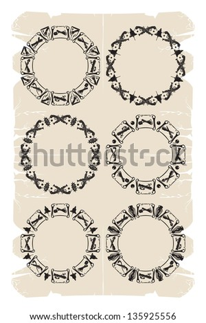 Round pirated frames, 3, vector - stock vector