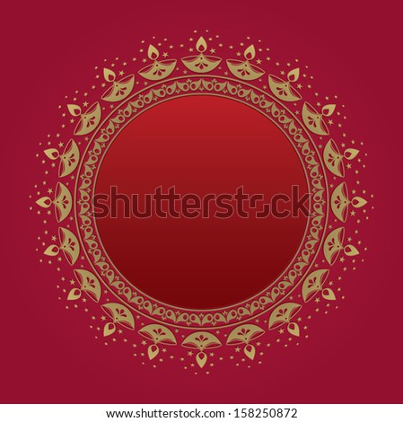 Round plaque with Diwali motifs - stock vector