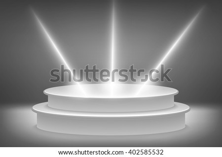 Round podium illuminated by spotlights. Vector Image. art