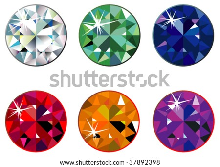 Round precious stones with sparkle - stock vector