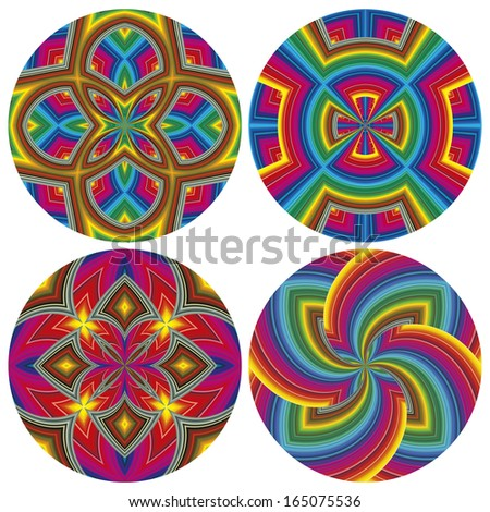 Round Psychedelic Pattern Set. Funky pop art texture with optic three-dimensional illusion  - stock vector