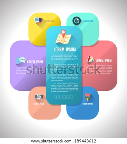 Round rectangle group with flat icons. Can use for business template, User interface, planning, Education diagram, brochure object. - stock vector