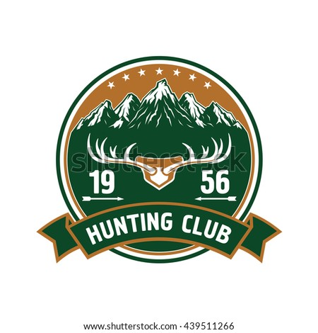 Round retro badge with snowy mountain peaks landscape and large branched deer antlers for hunting or sporting club design decorated by stars, arrows and heraldic ribbon banner - stock vector