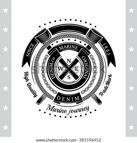 Round Ribbons And Rope Frame With Cross Flags. Sea Vintage Black Label Isolated On White - stock vector