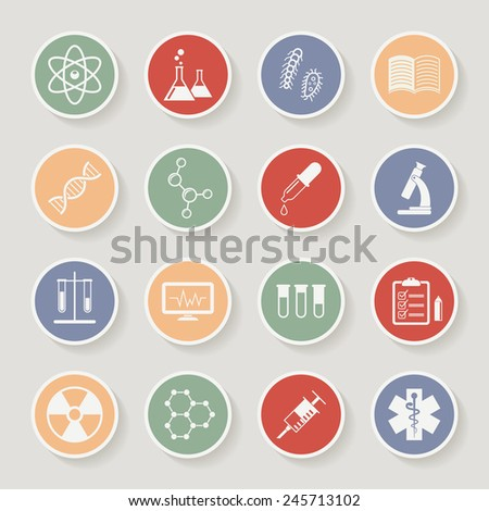 Round science, medical and education icons. Vector illustration - stock vector