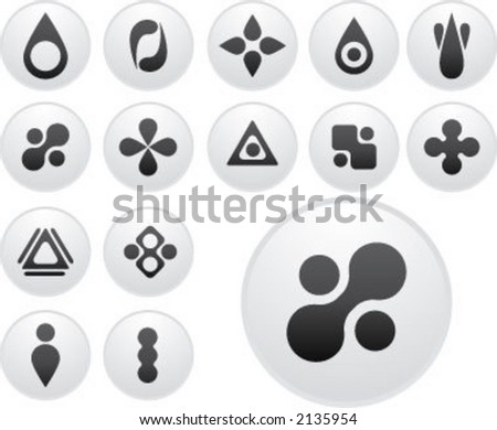 round shape icons (light version) - stock vector