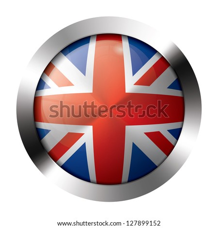 Round shiny metal button with flag of the united kingdom europe. - stock vector