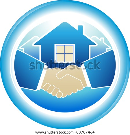 round sign of business handshake in blue frame - stock vector