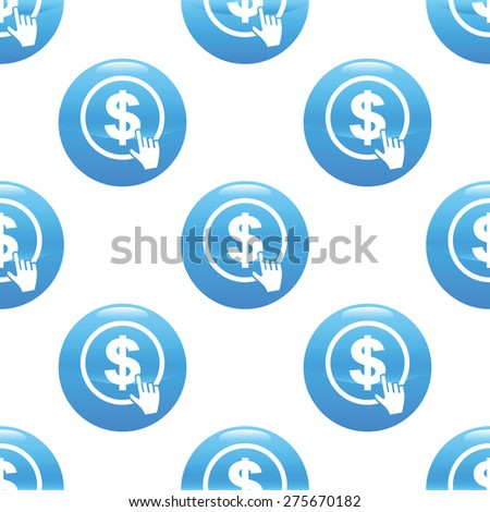 Round sign with cursor clicking on dollar emblem, repeated on white background - stock vector