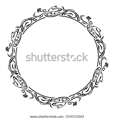 Round silhouette frame - stock vector