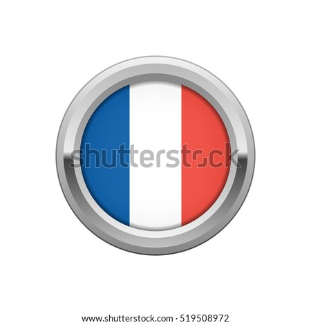 Round silver badge with French flag
