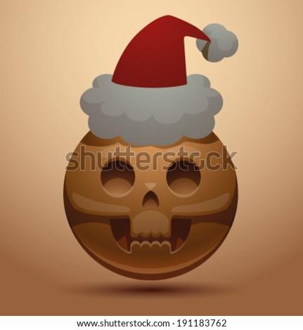 Round skull in christmas hat, vector - stock vector