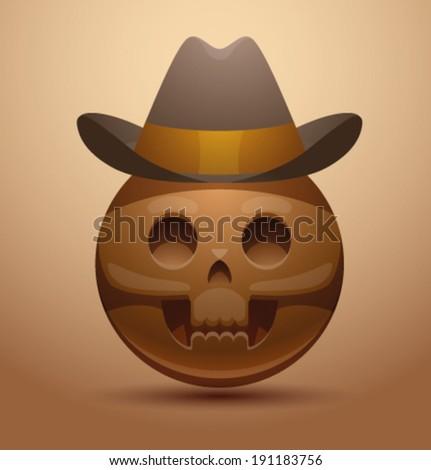 Round skull in cowboy hat, vector - stock vector