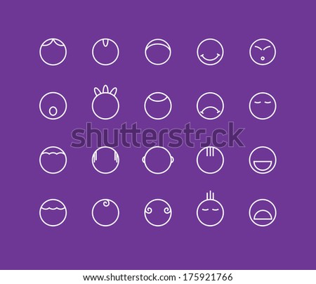 round smilies emotion icons - stock vector