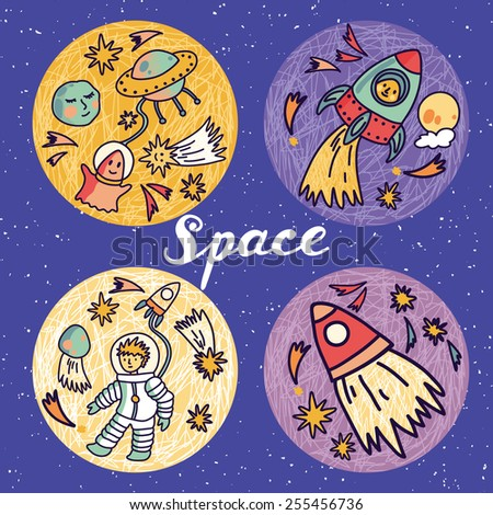 Round space banners with planets, rockets, astronaut, alien and stars. Childish background. Hand drawn vector illustration.