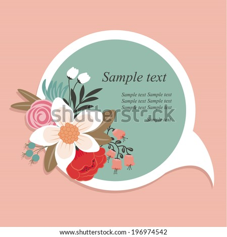 Round speech bubble with beautiful floral element. - stock vector
