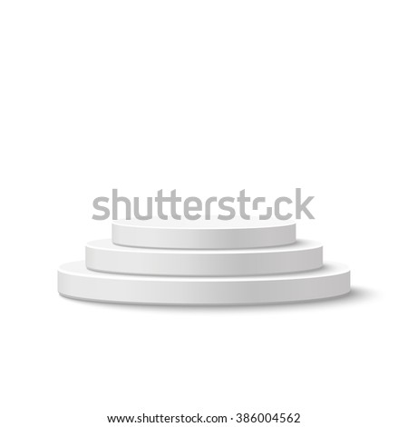 Round stage podium, pedestal isolated on white background. Vector illustration.