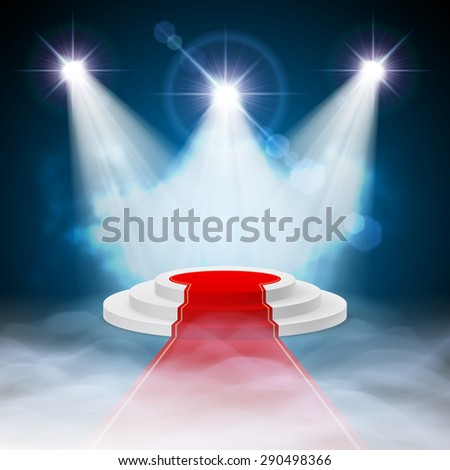 Round stepped white podium with red carpet and illuminated spotlights - stock vector
