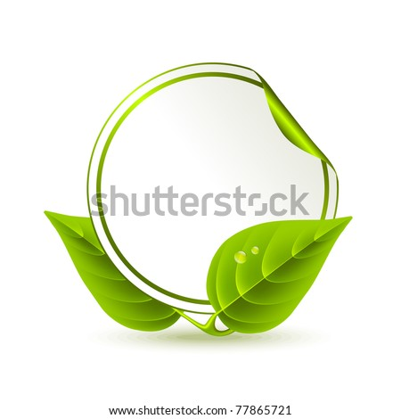 Round sticker decorated with green leaves - stock vector